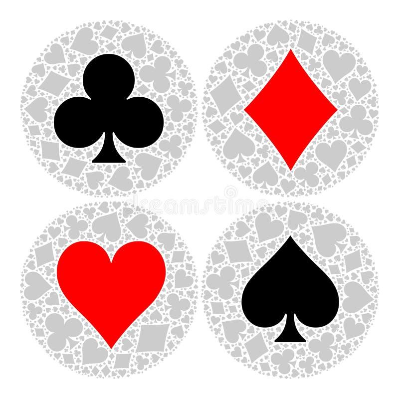 Mozaïekcirkel van het kostuum van de pookspeelkaart met hoofdsymbool in het midden - hart, diamant, spade en club Vlakke vector royalty-vrije illustratie