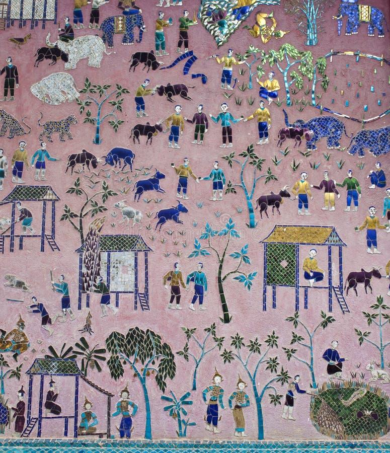Mozaïeken bij Rode kapel bij Wat Xieng Thong-tempel royalty-vrije stock afbeeldingen