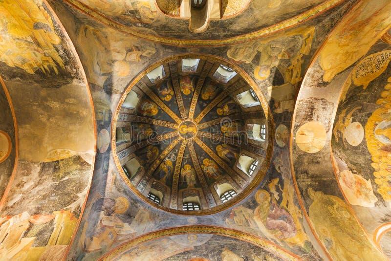 Mozaïeken en frsescos op de koepel van de Kerk van Chora in Istanboel, Turkije royalty-vrije stock fotografie