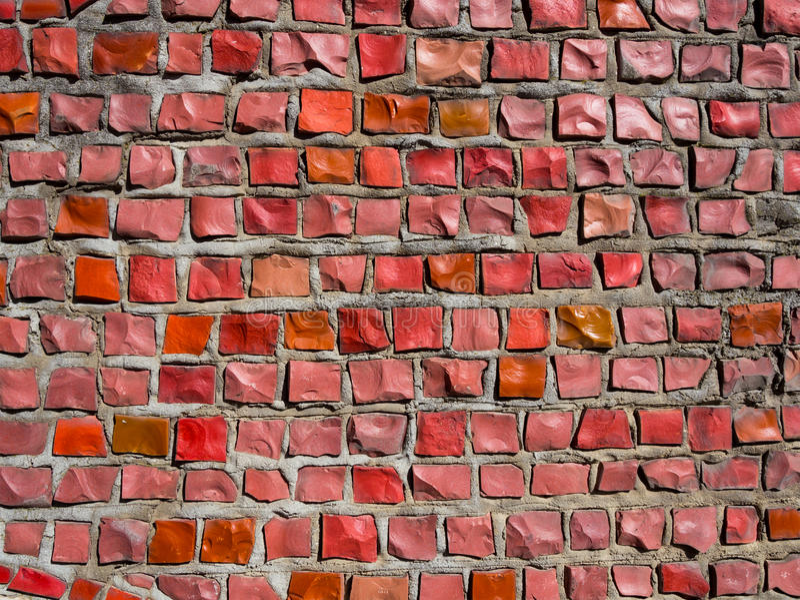 Mozaïeken van rode rechthoekige die stenen worden gemaakt royalty-vrije stock afbeeldingen