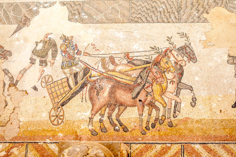Mozaïeken in Villa Romana del Casale royalty-vrije stock foto's