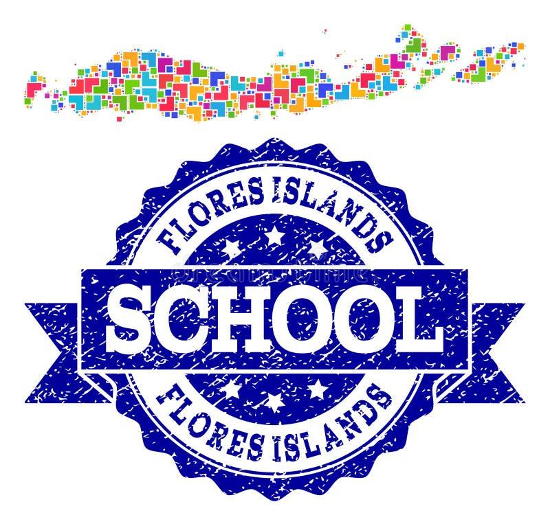 Mozaïekkaart van de Zegelcollage van Indonesië - Flores-van Eilanden en van de Noodschool stock illustratie