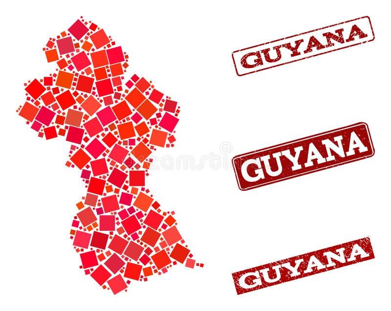 Moza?ekkaart van Guyana en de Gekraste Collage van de Schoolverbinding vector illustratie