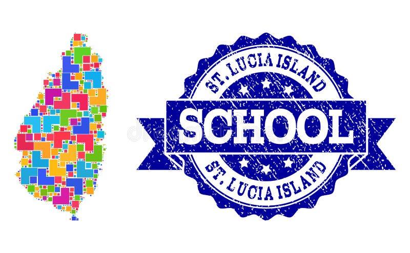 Moza?ekkaart van Heilige Lucia Island en de Geweven Samenstelling van de Schoolzegel royalty-vrije illustratie