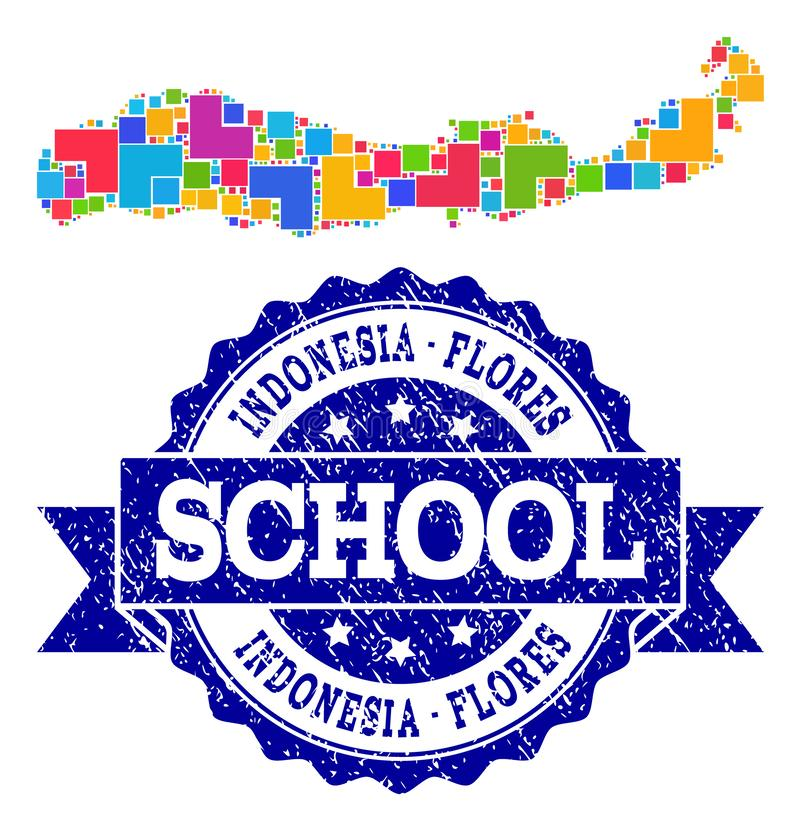 Mozaïekkaart van Indonesië - Flores-Eiland en de Gekraste Collage van de Schoolverbinding stock illustratie