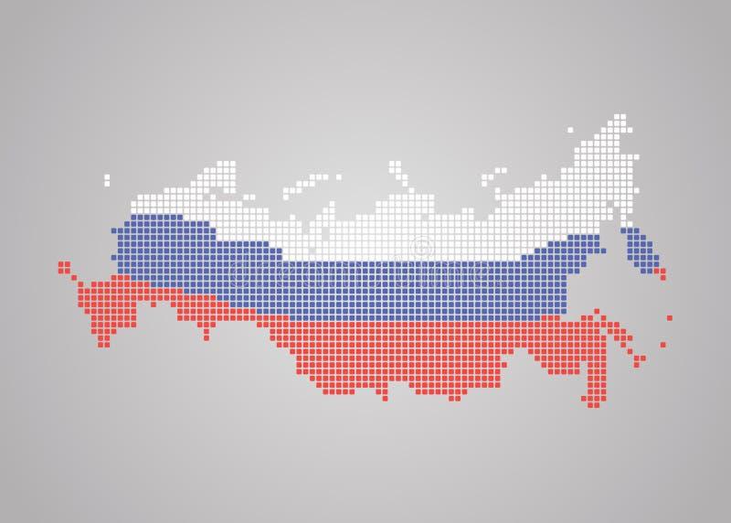 Mozaïekkaart van Rusland in de kleuren van de nationale vlag stock illustratie