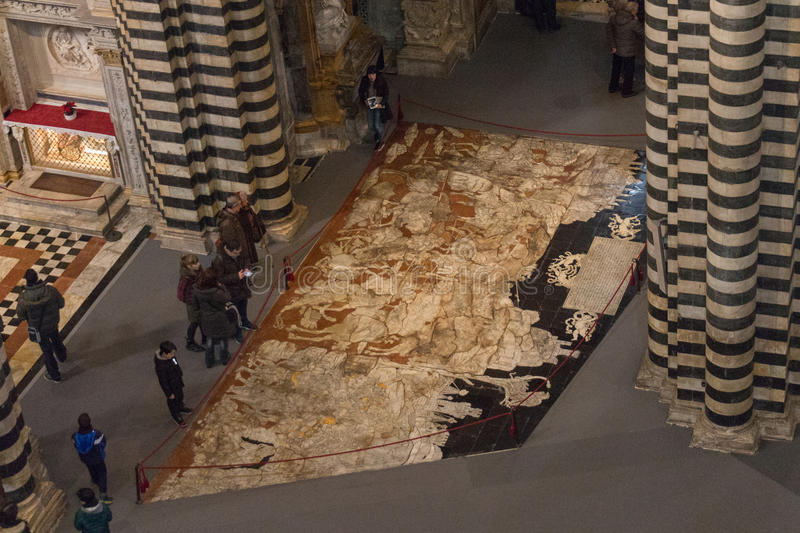 Mozaïekvloer van Siena Cathedral Toscanië, Italië stock afbeeldingen