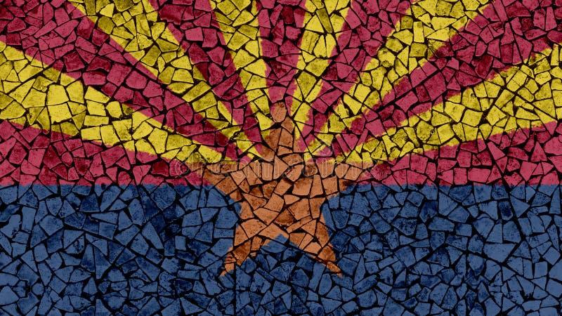 Mozaik płytek Malować Arizona flaga royalty ilustracja