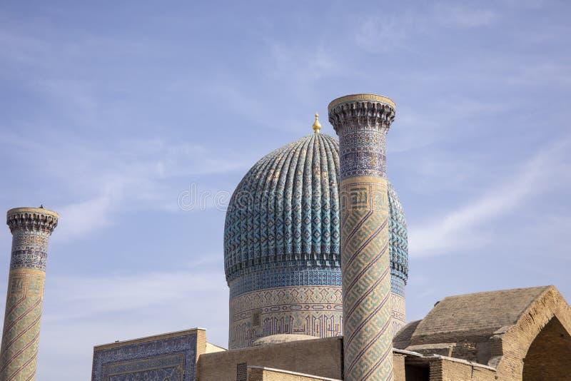 Mozaik płytki na kopule, Gur emir, Samarkand, Uzbekistan fotografia royalty free