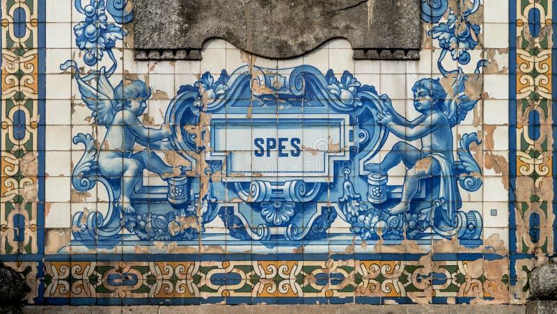 Mozaik płytki zewnętrzna ściana kościół San Ildefonso, Porto, Portugalia obraz royalty free