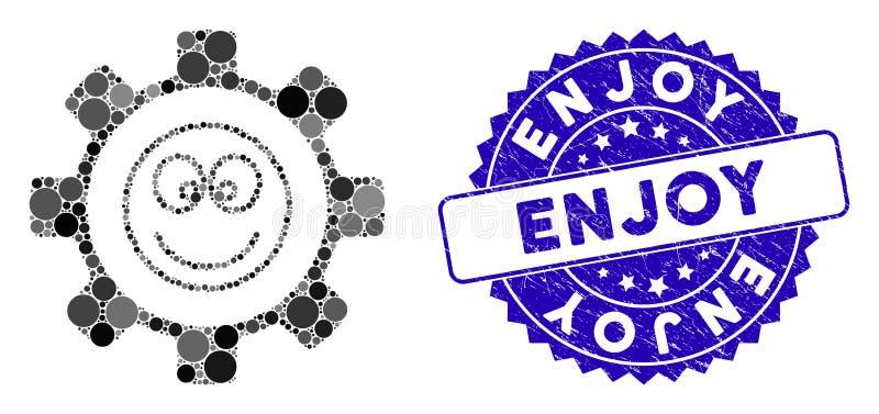Mozaika Gear Happy Smile Icon z Grunge Enjoy Stamp ilustracja wektor