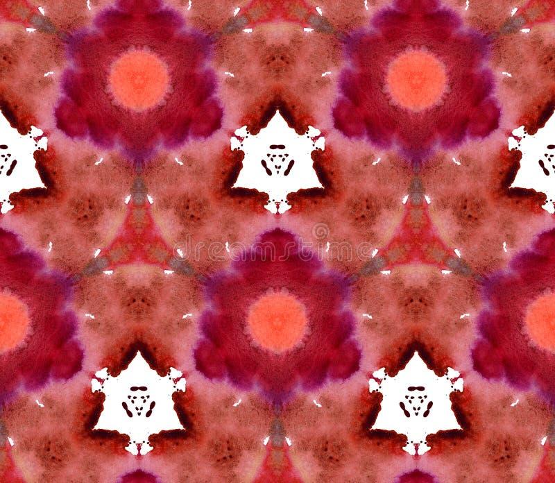 Mozaika kalejdoskopu akwareli tła Retrowave Synthwave czerwonego imbiru bezszwowy deseniowy brąz royalty ilustracja