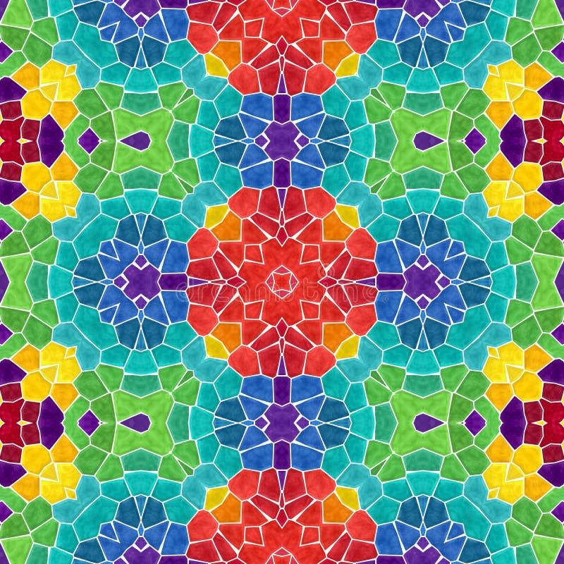 Mozaika kalejdoskopu bezszwowy deseniowy tło - pełny kolor barwił z białym grout ilustracji