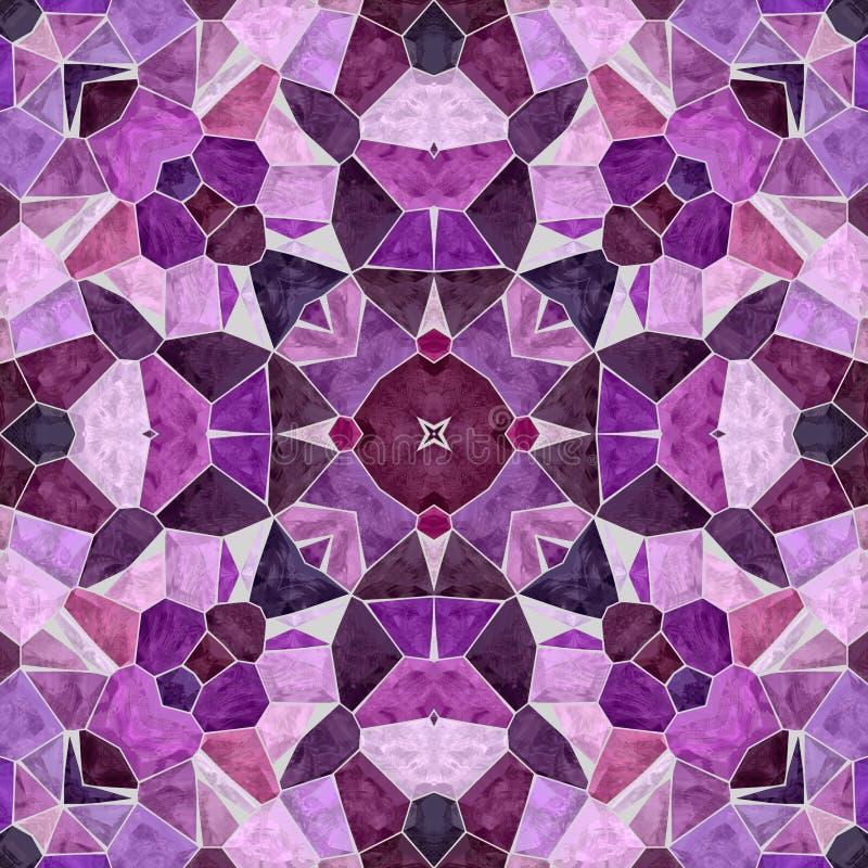 Mozaika kalejdoskopu bezszwowy deseniowy tło - purpura, fiołek, fuksja, menchia, orchidea i wałkoni się kolor barwiącego z szaroś ilustracja wektor