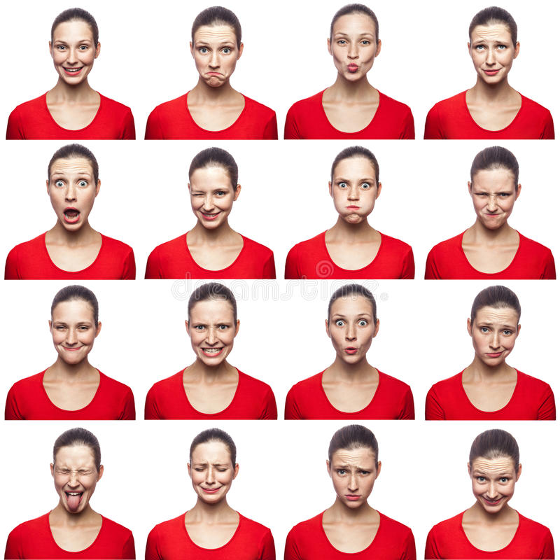 Mozaika kobieta wyraża różnych emocj wyrażenia z piegami Kobieta z czerwoną koszulką z 16 różnymi emocjami Jest zdjęcia stock