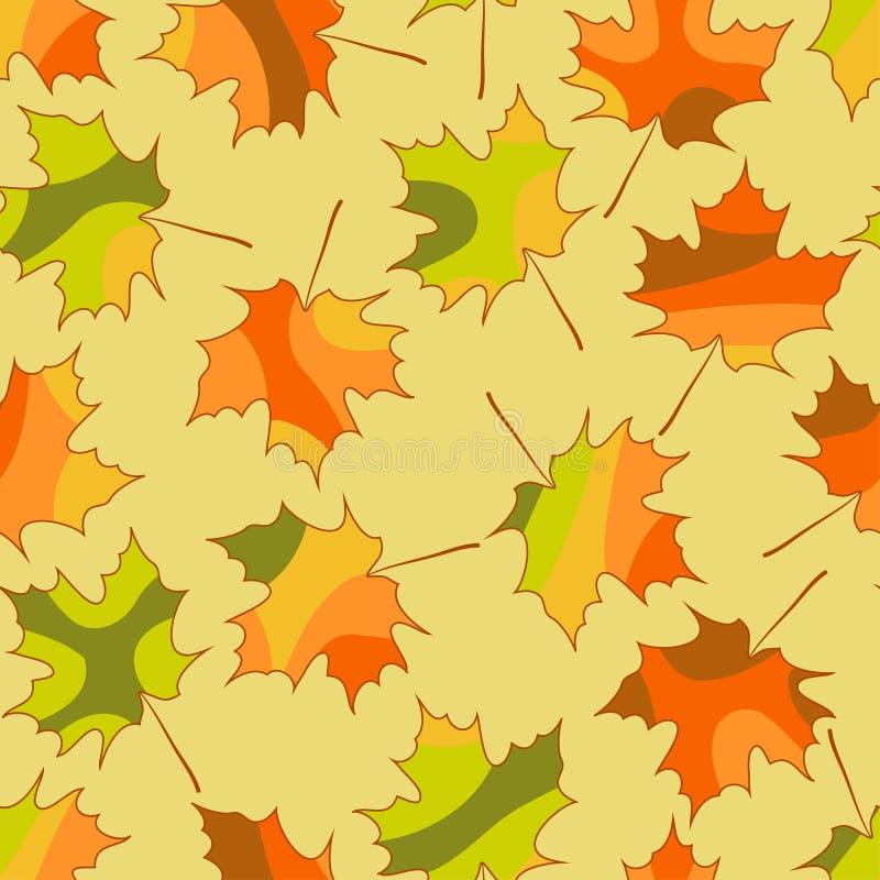 Mozaika liścia klonowego bezszwowy wzór, wektorowej jesieni bezszwowy tło ilustracja wektor