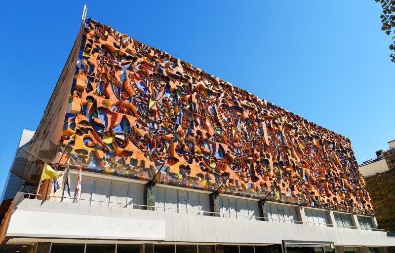 Mozaika na budynku na Agmashenebeli alei w Tbilisi Gruzja zdjęcie royalty free