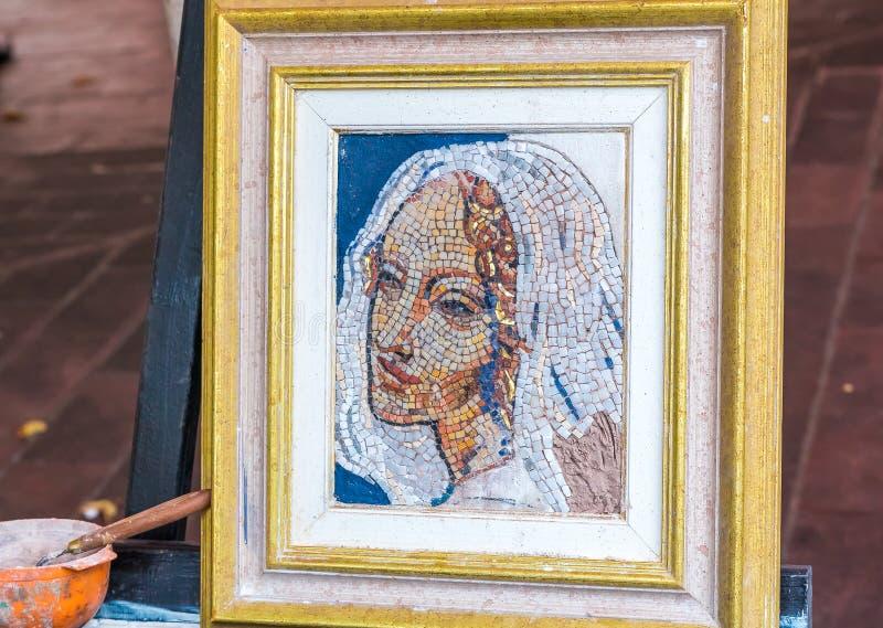 Mozaika obraz ulicznym artystą zdjęcia stock