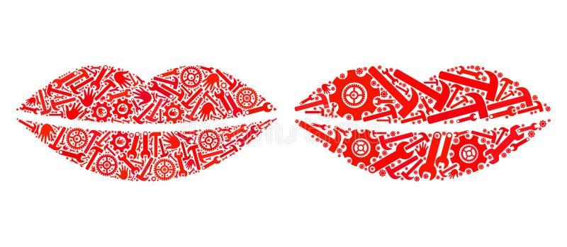 Mozaika uśmiechu warg ikony Usługowi narzędzia ilustracji