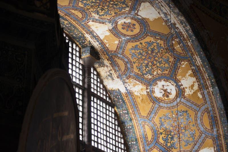 Mozaika w starym kościół Hagia Sophia także dzwonił Świętego Mądrość, Sancta Sophia lub Ayasofya w Istanbuł, Turcja fotografia stock