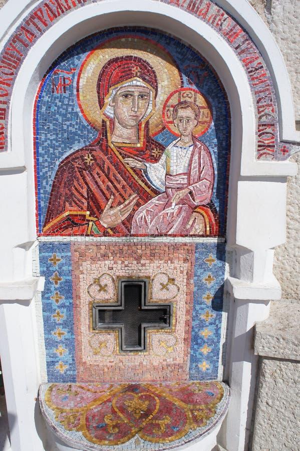 Mozaika wizerunek błogosławiony maryja dziewica z dzieckiem obraz stock