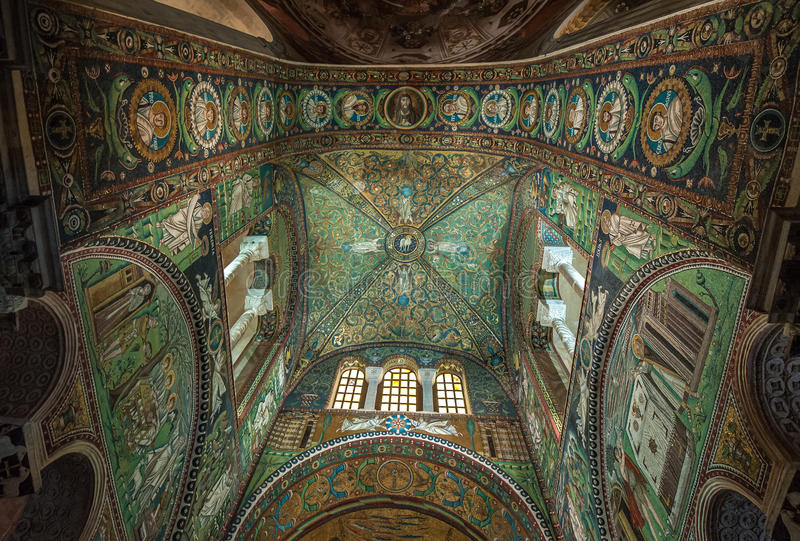 Mozaiki bazylika San Vitale, Ravenna, Włochy zdjęcie stock