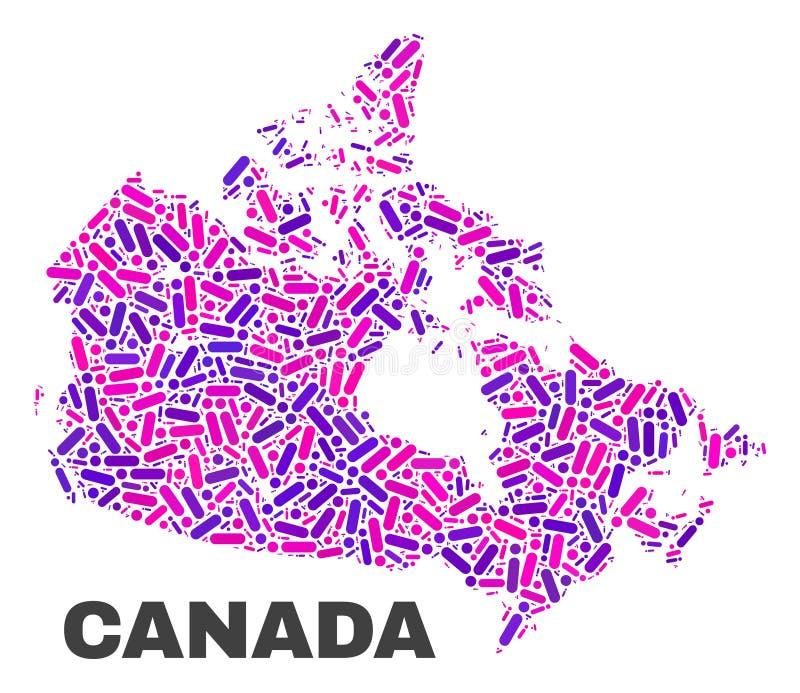 Mozaiki Kanada mapa kropki i linie royalty ilustracja