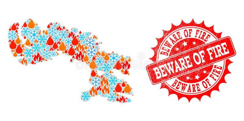 Mozaiki mapa Baffin wyspa płomień i śnieg i my Wystrzegamy się ogień Drapający znaczek ilustracja wektor