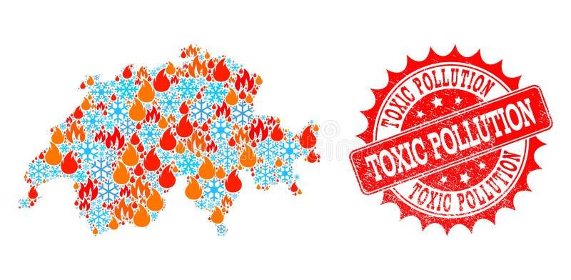 Mozaiki mapa Szwajcaria ogień i zanieczyszczenie Drapający znaczek Śnieżny i Toksyczny ilustracji