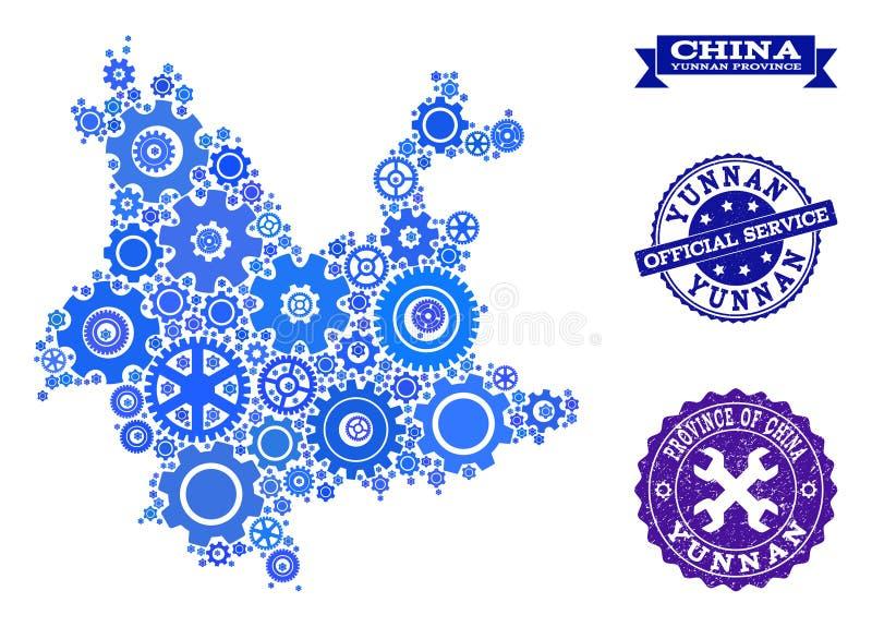 Mozaiki mapa Yunnan prowincja z przekładniami i Grunge znaczkami dla usług ilustracji