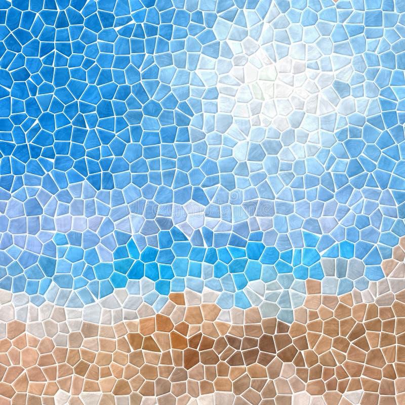Mozaiki niebieskiego nieba piaska plaży wzoru tekstury tło z białym grout ilustracja wektor