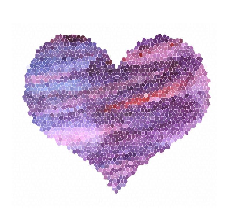 Mozaiki purpurowego serca ilustracja w fiołkowych i błękita kolorach royalty ilustracja