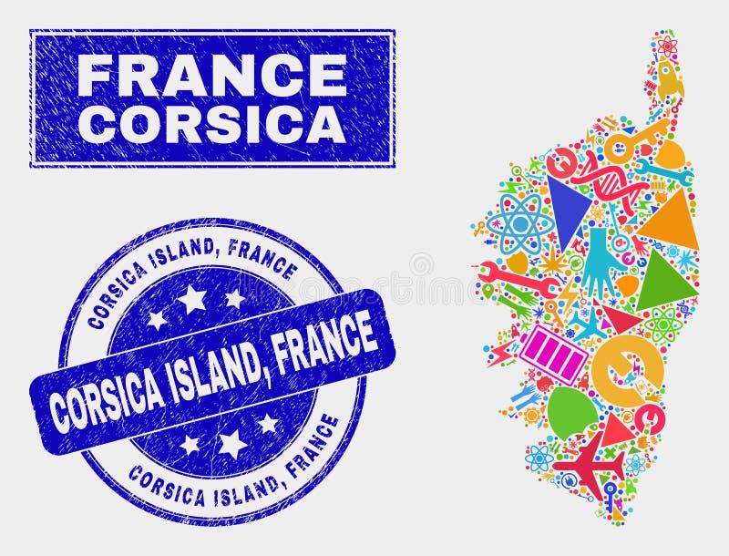 Mozaiki technologii Corsica mapa i foka cierpienia Corsica wyspy, Francja ilustracja wektor