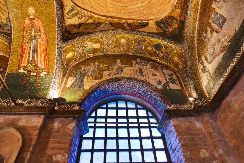 Mozaiki wnętrze w Chora kościół przy Istanbuł Turcja obrazy stock