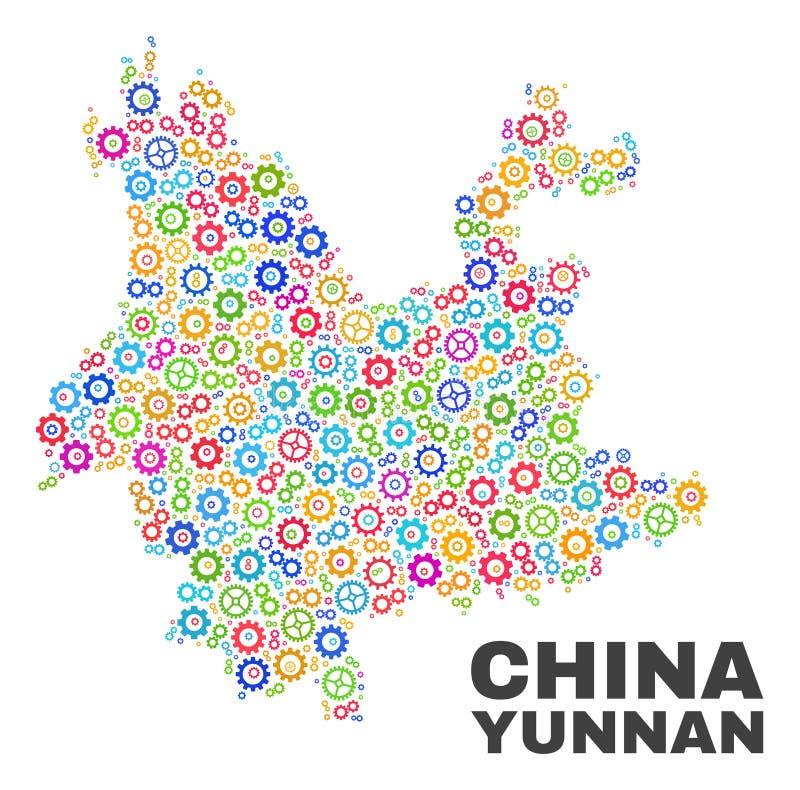 Mozaiki Yunnan prowincji mapa Gearwheel elementy ilustracja wektor