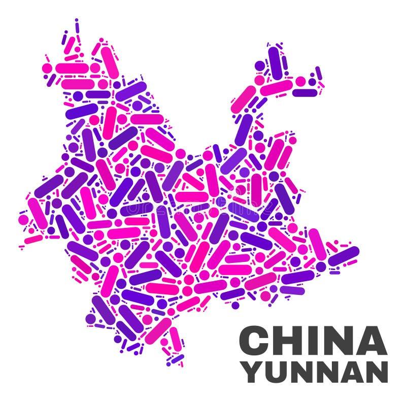 Mozaiki Yunnan prowincji mapa kropki i linie ilustracja wektor