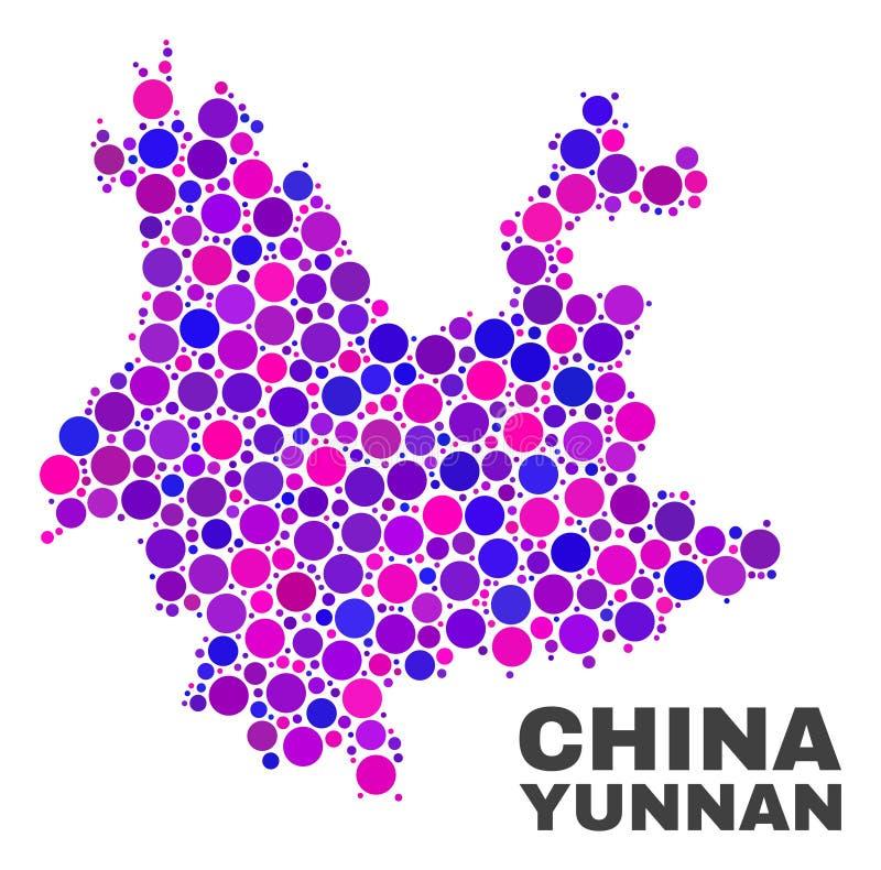 Mozaiki Yunnan prowincji mapa okregów elementy royalty ilustracja