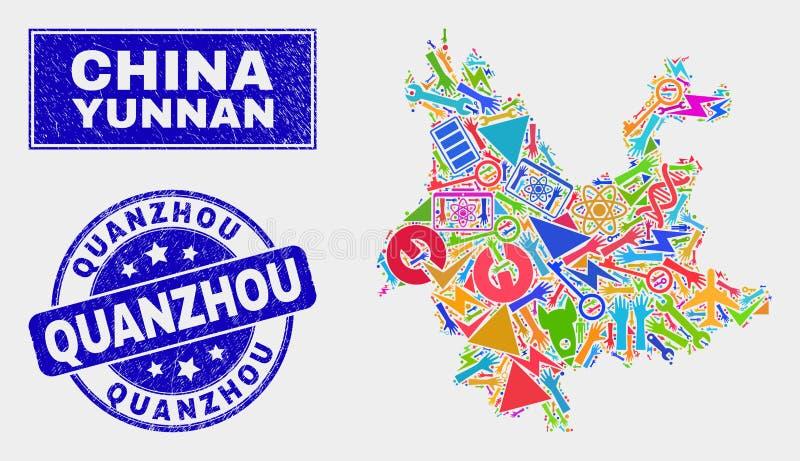 Mozaiki Yunnan prowincji Usługowa mapa i Grunge Quanzhou Watermark ilustracja wektor