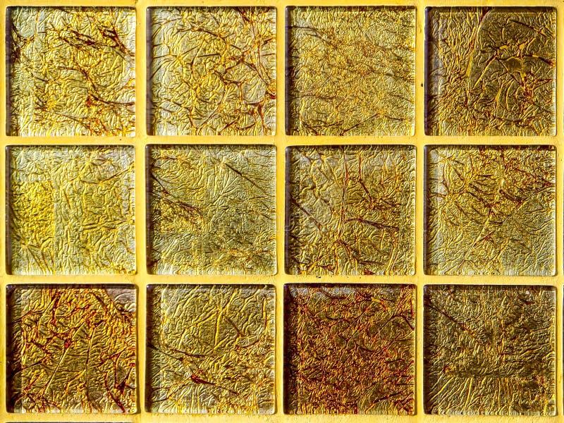 Mozaiki złota kwadratowego bloku tapety luksus obraz stock