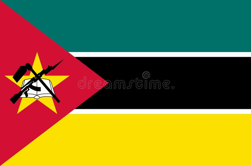 Mozambicaanse nationale vlag, vlag van de nauwkeurige kleuren van Mozambique, ware kleur vector illustratie