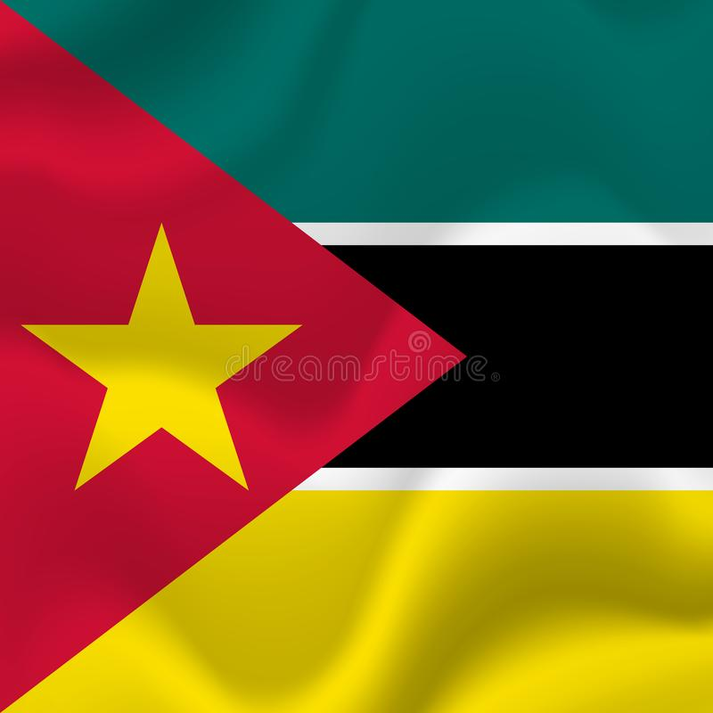 Mozambik falowania flaga również zwrócić corel ilustracji wektora royalty ilustracja