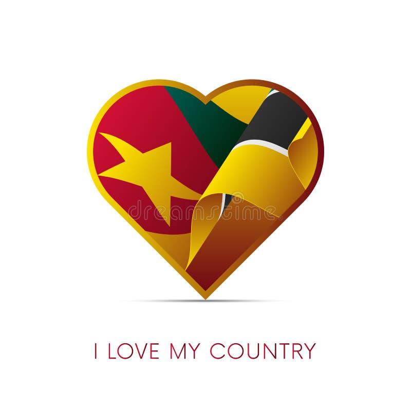 Mozambik flaga w sercu Kocham mój kraju Znak również zwrócić corel ilustracji wektora ilustracji
