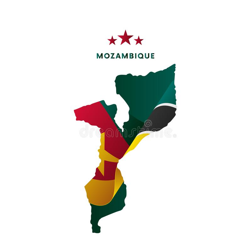 Mozambik mapa z falowanie flaga również zwrócić corel ilustracji wektora ilustracji
