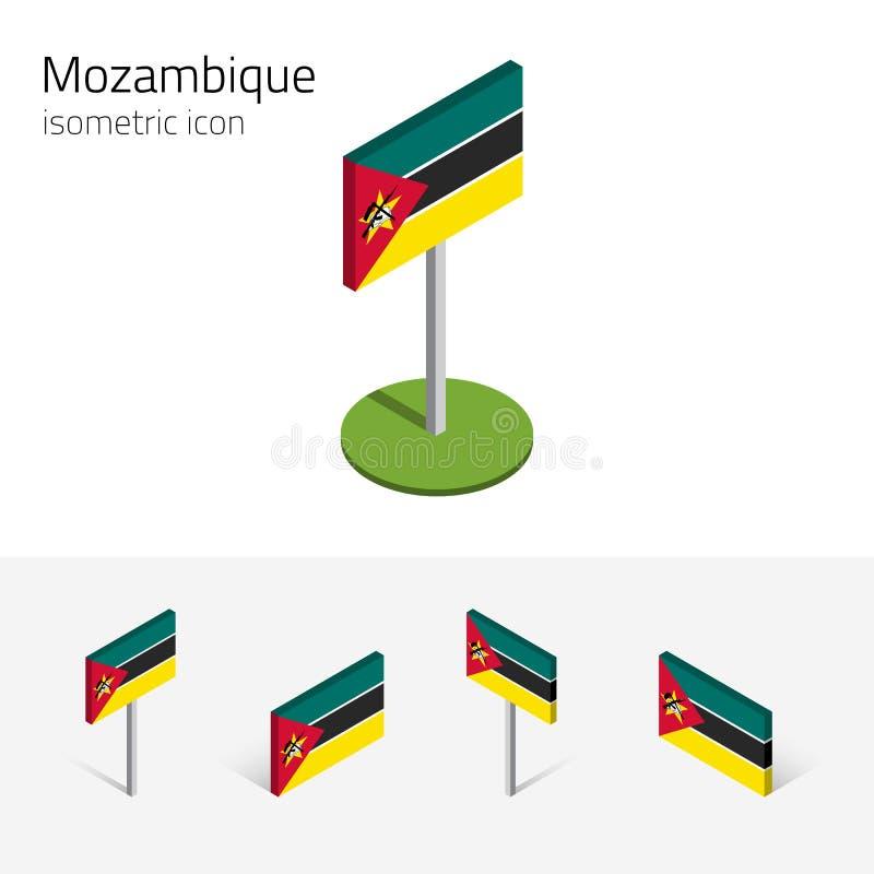 Mozambik zaznacza, wektoru 3D isometric płaskie ikony ilustracji