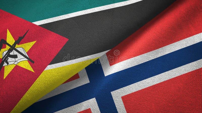 Mozambique en Noorwegen twee vlaggen textieldoek, stoffentextuur vector illustratie