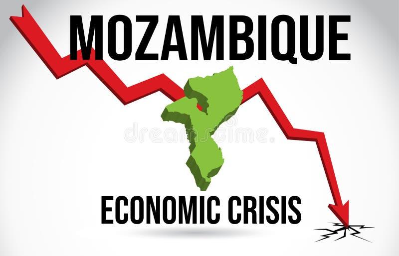 Mozambique Map Financial Crisis Economic Collapse Market Crash Global Meltdown Vector. Illustration royalty free illustration