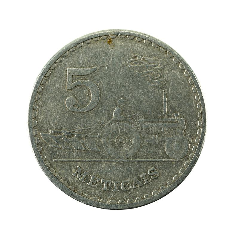 5 mozambique metical coin 1982 obverse. Isolated on white background royalty free stock photo