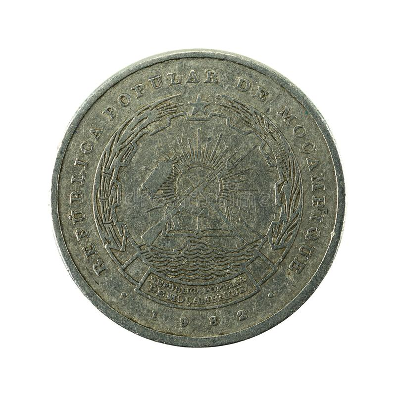 5 mozambique metical coin 1982 reverse. Isolated on white background royalty free stock photography