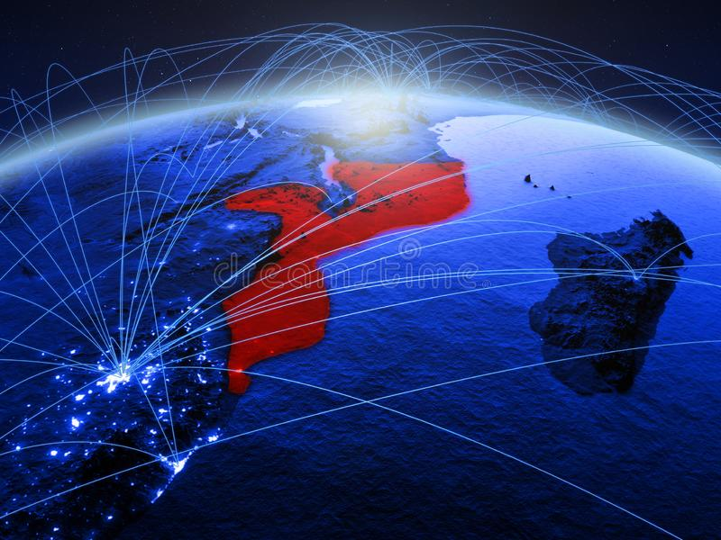 Mozambique op blauwe digitale aarde met internationaal netwerk die mededeling, reis en verbindingen vertegenwoordigen 3d royalty-vrije stock foto