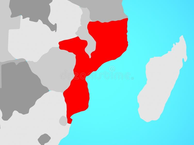 Mozambique op kaart royalty-vrije illustratie